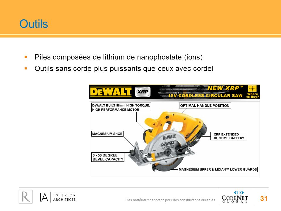 31 Des matériaux nanotech pour des constructions durables Outils Piles composées de lithium de nanophostate (ions) Outils sans corde plus puissants qu