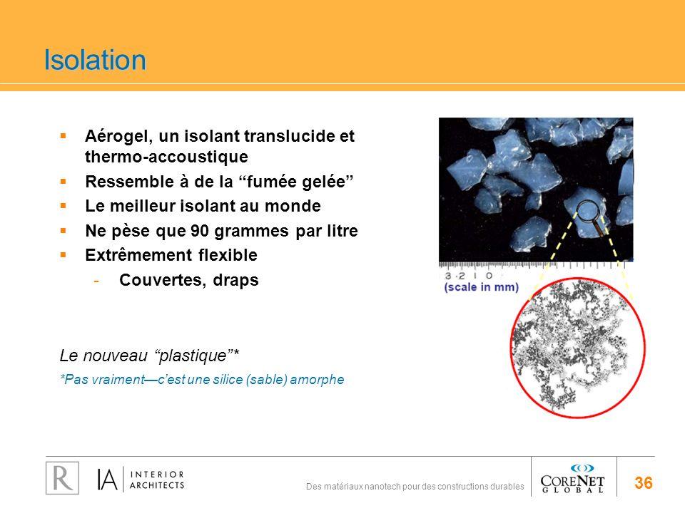 36 Des matériaux nanotech pour des constructions durables Isolation Aérogel, un isolant translucide et thermo-accoustique Ressemble à de la fumée gelé