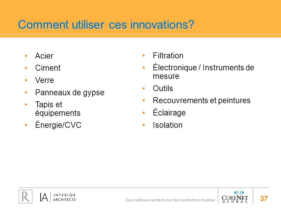 37 Des matériaux nanotech pour des constructions durables Comment utiliser ces innovations? Acier Ciment Verre Panneaux de gypse Tapis et équipements