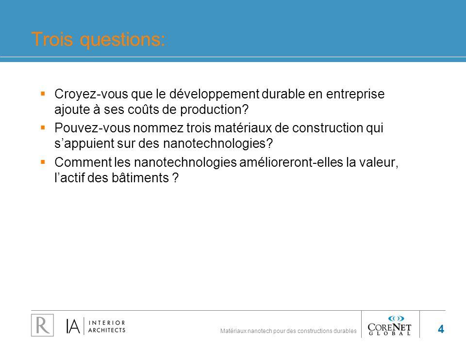 Matériaux nanotech pour des constructions durables 4 Trois questions: Croyez-vous que le développement durable en entreprise ajoute à ses coûts de pro