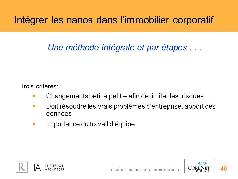 40 Des matériaux nanotech pour des constructions durables Une méthode intégrale et par étapes... Intégrer les nanos dans limmobilier corporatif Trois