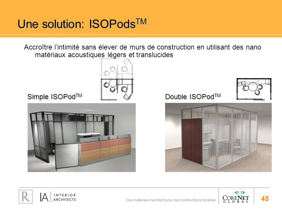 45 Des matériaux nanotech pour des constructions durables Une solution: ISOPods TM Simple ISOPod TM Double ISOPod TM Accroître lintimité sans élever d
