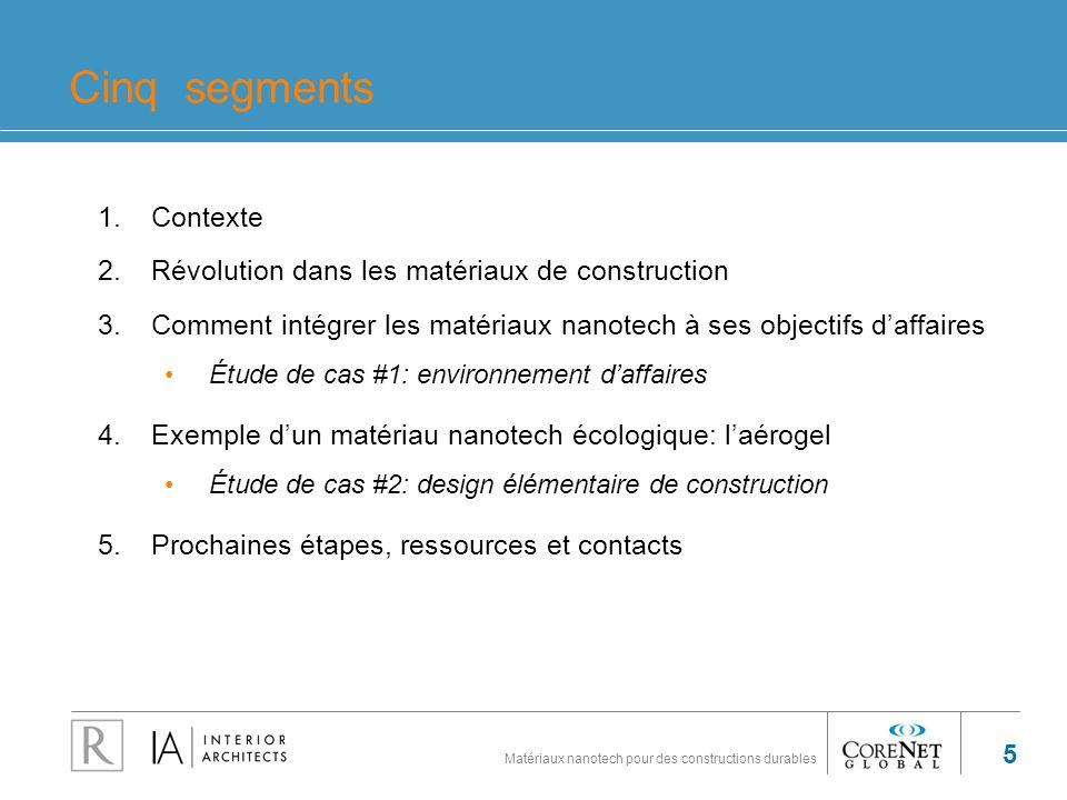 Matériaux nanotech pour des constructions durables 5 Cinq segments 1.Contexte 2.Révolution dans les matériaux de construction 3.Comment intégrer les m