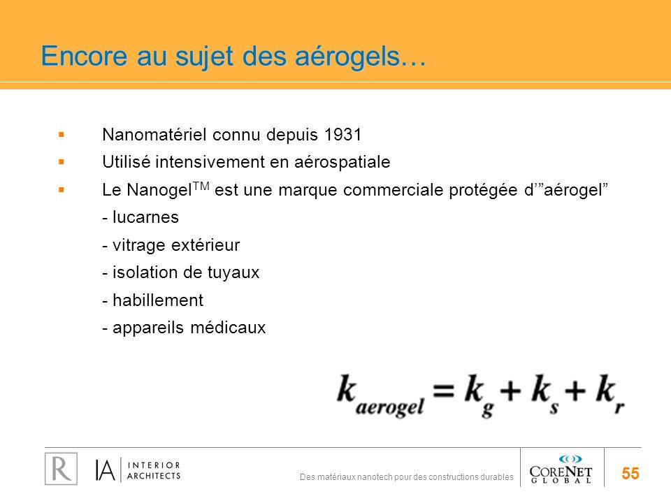 55 Des matériaux nanotech pour des constructions durables Encore au sujet des aérogels… Nanomatériel connu depuis 1931 Utilisé intensivement en aérosp