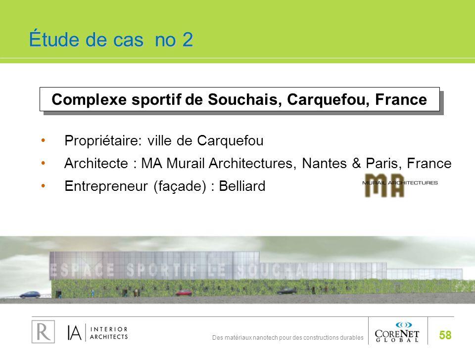 58 Des matériaux nanotech pour des constructions durables Complexe sportif de Souchais, Carquefou, France Propriétaire: ville de Carquefou Architecte