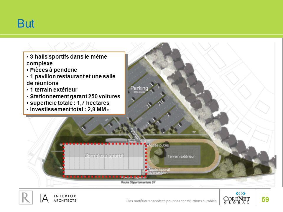 59 Des matériaux nanotech pour des constructions durables 3 halls sportifs dans le même complexe Pièces à penderie 1 pavillon restaurant et une salle