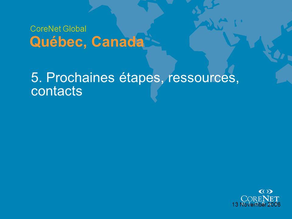 CoreNet Global Québec, Canada 13 November 2006 5. Prochaines étapes, ressources, contacts