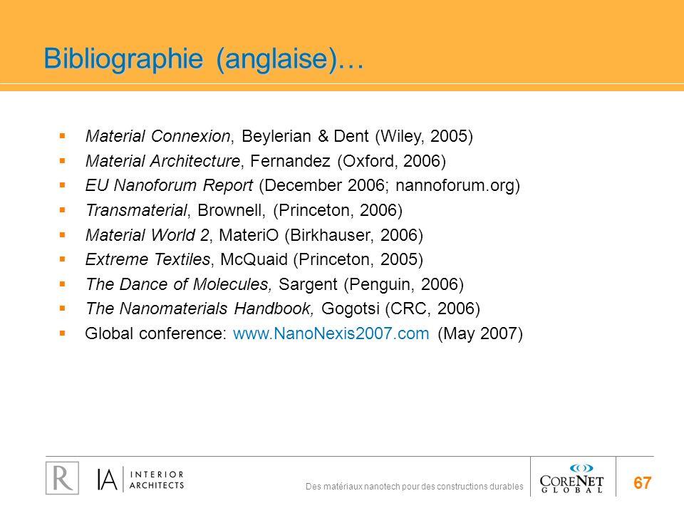 67 Des matériaux nanotech pour des constructions durables Bibliographie (anglaise)… Material Connexion, Beylerian & Dent (Wiley, 2005) Material Archit