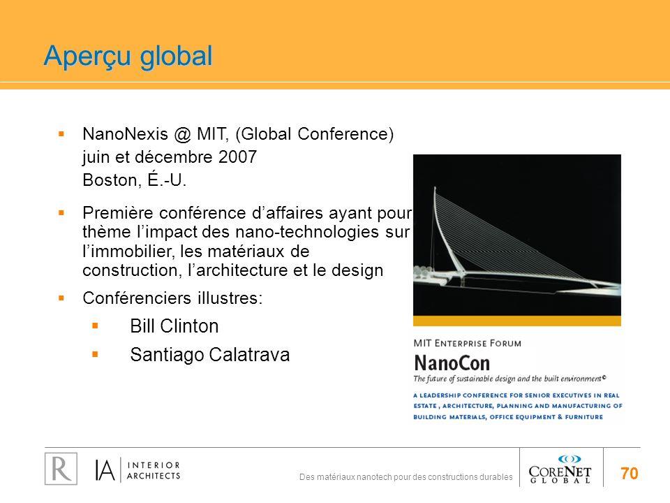70 Des matériaux nanotech pour des constructions durables NanoNexis @ MIT, (Global Conference) juin et décembre 2007 Boston, É.-U. Première conférence