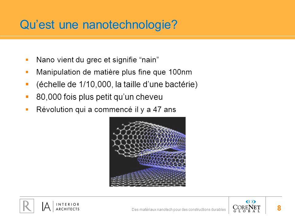 8 Des matériaux nanotech pour des constructions durables Quest une nanotechnologie? Nano vient du grec et signifie nain Manipulation de matière plus f