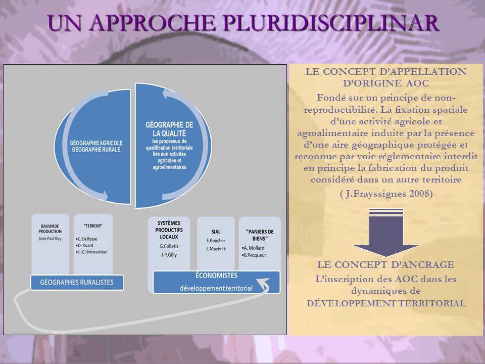 UN APPROCHE PLURIDISCIPLINAR LE CONCEPT DAPPELLATION DORIGINE AOC Fondé sur un principe de non- reproductibilité.