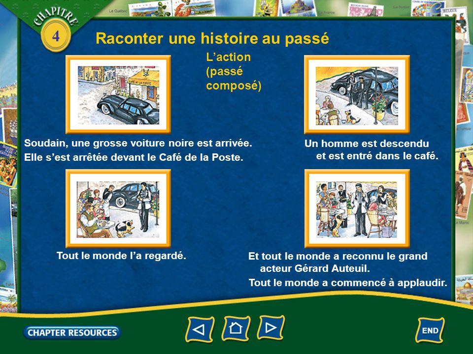 4 Raconter une histoire au passé Laction (passé composé) Soudain, une grosse voiture noire est arrivée. Elle sest arrêtée devant le Café de la Poste.