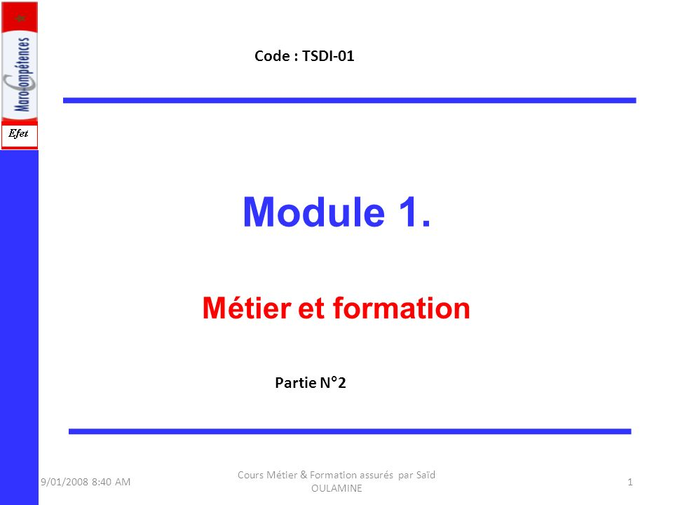 09/11/2013 Cours Métier & Formation Mr Saïd OULAMINE 2 Objectifs du Module 1.Le marché du travail dans le domaine des Techniques de Développement Informatique (TDI) 2.Nature et exigences de lemploi 3.La législation régissant les lois de travail 4.Manières de (présenter des données lors dune rencontre de groupe) 5.Des habiletés, aptitudes et connaissances à acquérir (durant la pratique du métier) 6.But du projet de formation( le pourquoi ?) 7.Orientation professionnelle(Étude des cas)