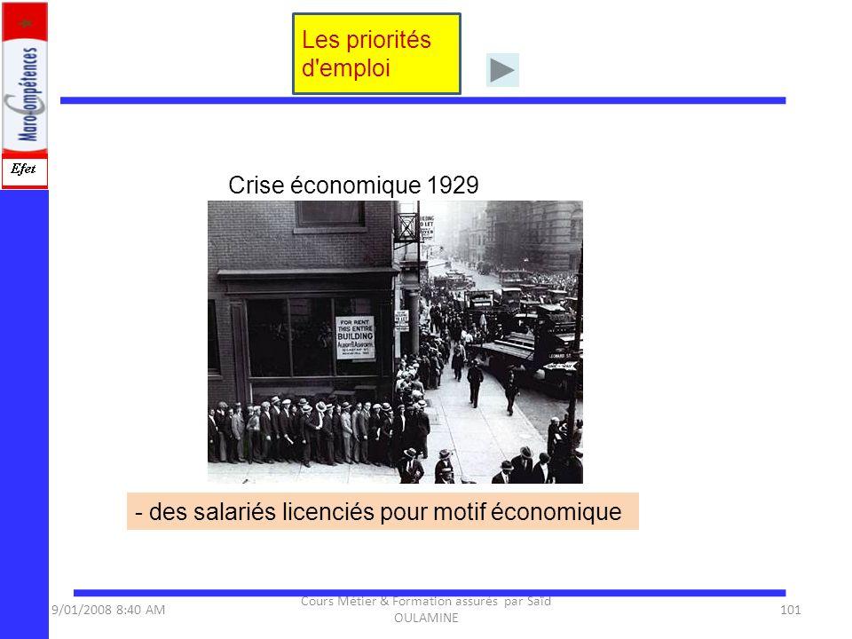 9/01/2008 8:40 AM Cours Métier & Formation assurés par Saïd OULAMINE 101 - des salariés licenciés pour motif économique Les priorités d'emploi Crise é