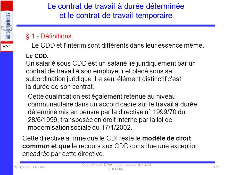 § 1 - Définitions. Le CDD et l'intérim sont différents dans leur essence même. Le CDD. Un salarié sous CDD est un salarié lié juridiquement par un con