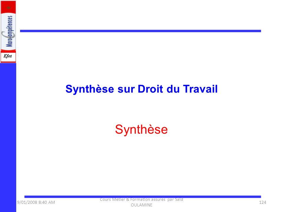 Synthèse sur Droit du Travail Synthèse 9/01/2008 8:40 AM124 Cours Métier & Formation assurés par Saïd OULAMINE