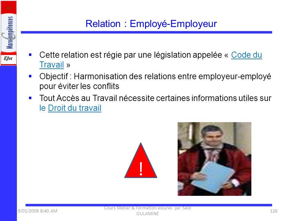 Relation : Employé-Employeur Cette relation est régie par une législation appelée « Code du Travail » Objectif : Harmonisation des relations entre emp