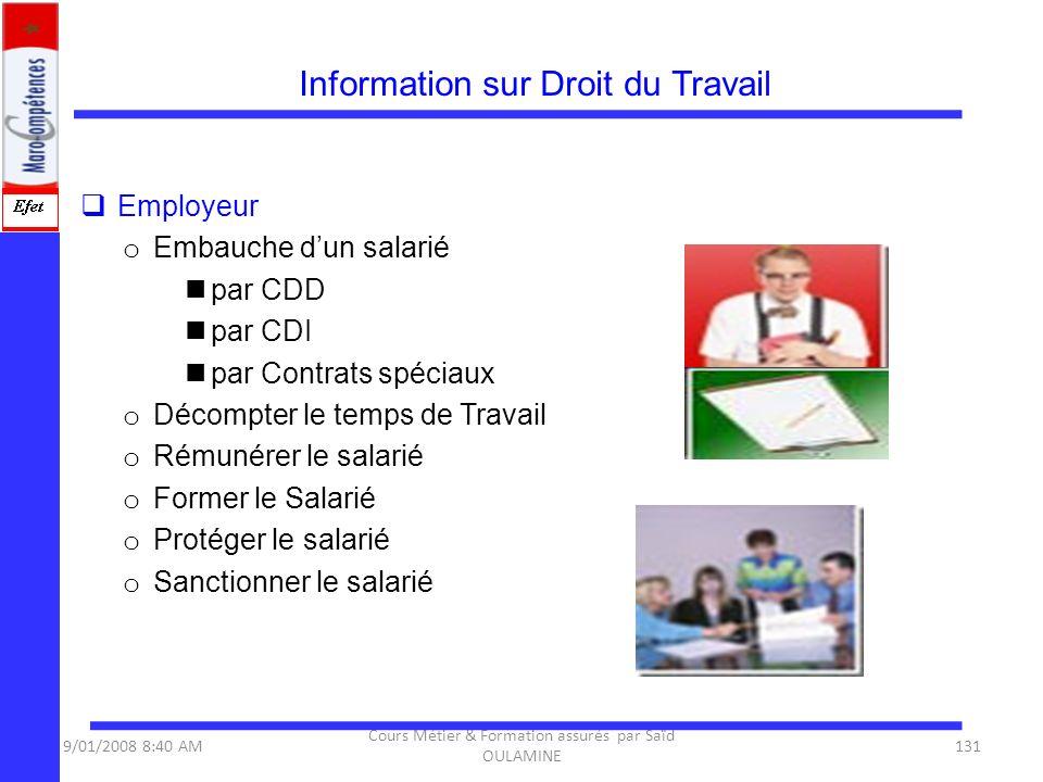 Information sur Droit du Travail Employeur o Embauche dun salarié par CDD par CDI par Contrats spéciaux o Décompter le temps de Travail o Rémunérer le
