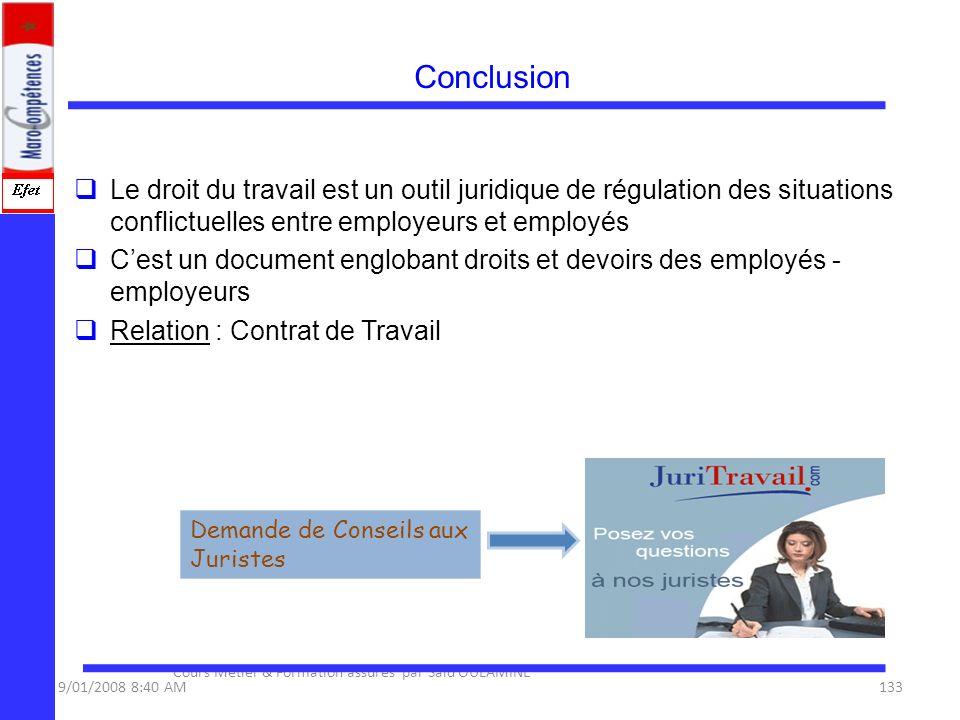 Conclusion Le droit du travail est un outil juridique de régulation des situations conflictuelles entre employeurs et employés Cest un document englob