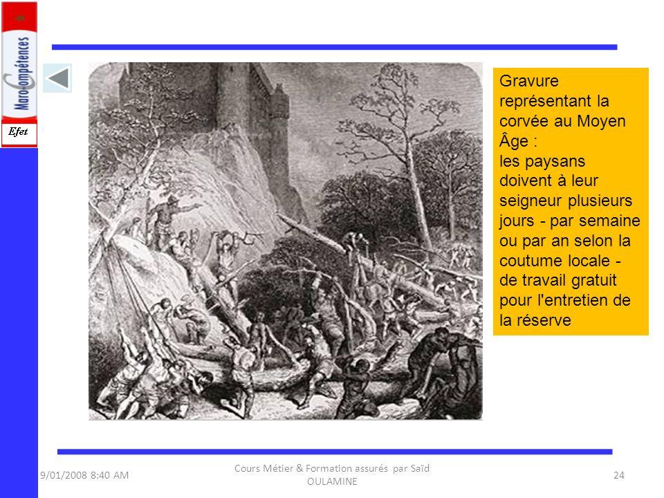 9/01/2008 8:40 AM Cours Métier & Formation assurés par Saïd OULAMINE 24 Gravure représentant la corvée au Moyen Âge : les paysans doivent à leur seign