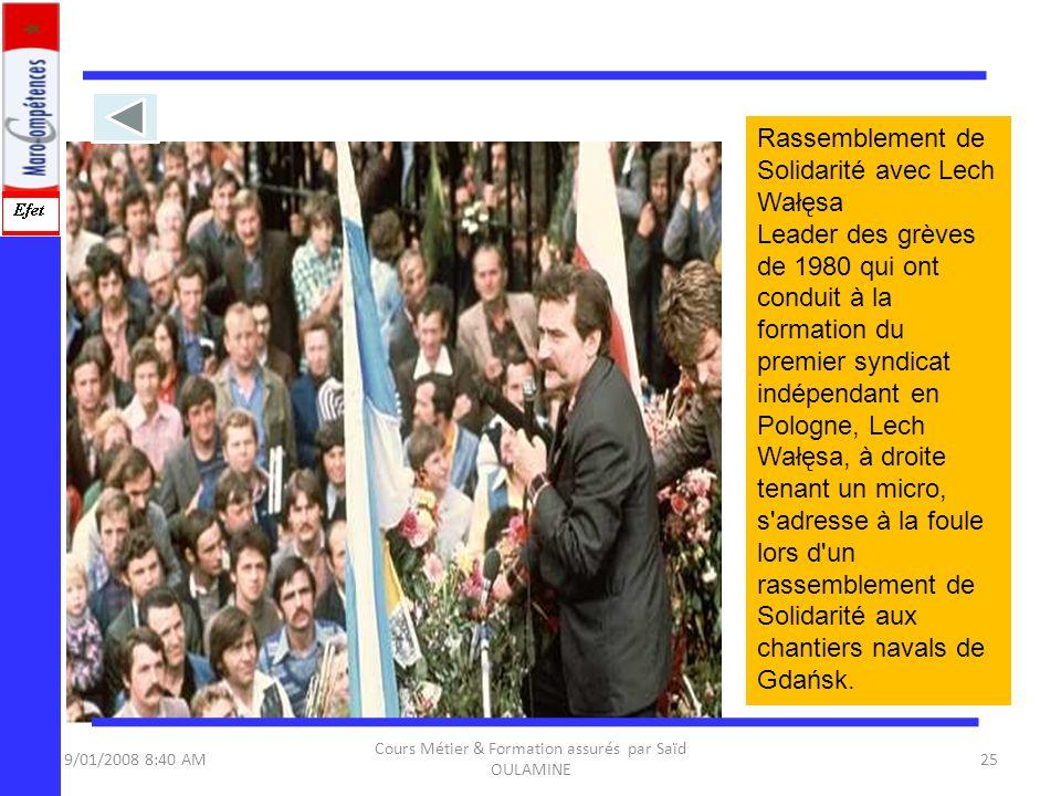 9/01/2008 8:40 AM Cours Métier & Formation assurés par Saïd OULAMINE 25 Rassemblement de Solidarité avec Lech Wałęsa Leader des grèves de 1980 qui ont