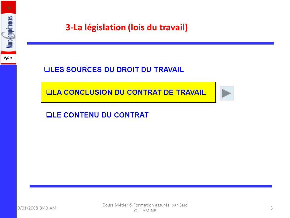 3-La législation (lois du travail) 9/01/2008 8:40 AM3 Cours Métier & Formation assurés par Saïd OULAMINE LE CONTENU DU CONTRAT LES SOURCES DU DROIT DU