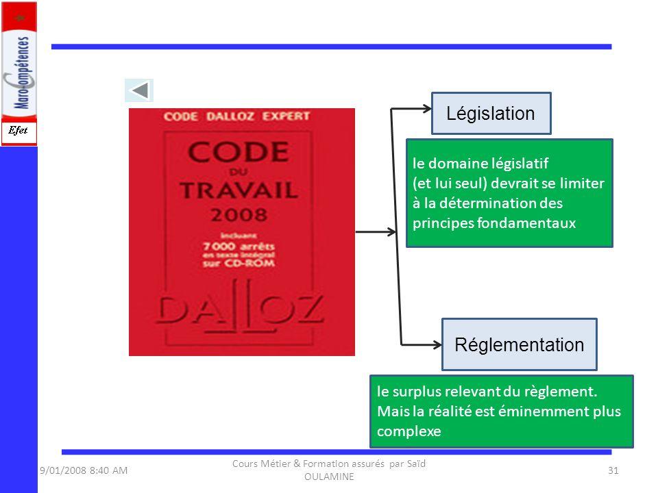 9/01/2008 8:40 AM Cours Métier & Formation assurés par Saïd OULAMINE 31 Législation Réglementation le domaine législatif (et lui seul) devrait se limi