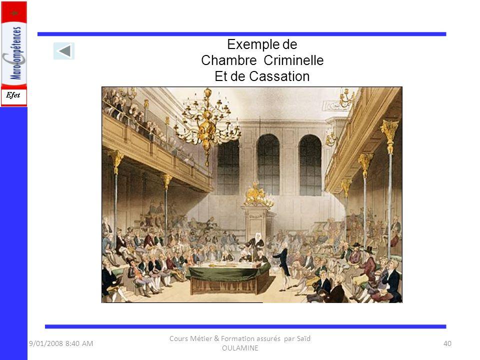 9/01/2008 8:40 AM Cours Métier & Formation assurés par Saïd OULAMINE 40 Exemple de Chambre Criminelle Et de Cassation