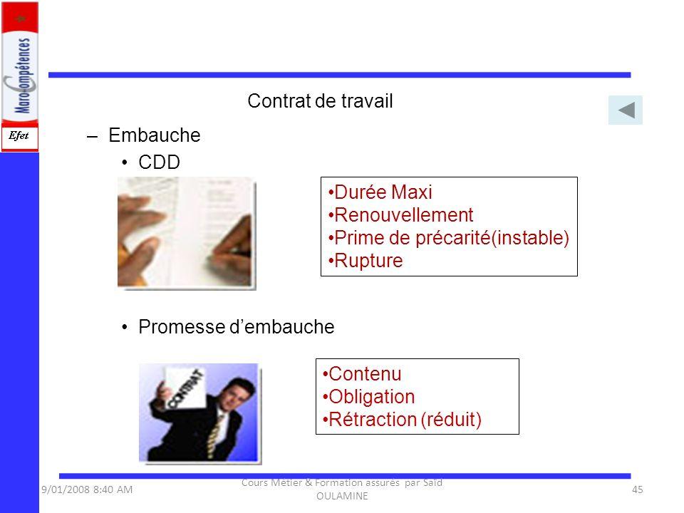 –Embauche CDD Promesse dembauche Durée Maxi Renouvellement Prime de précarité(instable) Rupture Contenu Obligation Rétraction (réduit) 9/01/2008 8:40
