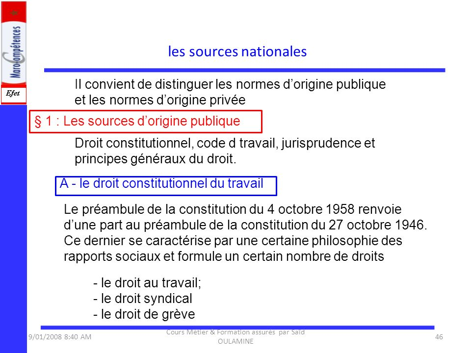 les sources nationales § 1 : Les sources dorigine publique Il convient de distinguer les normes dorigine publique et les normes dorigine privée Droit