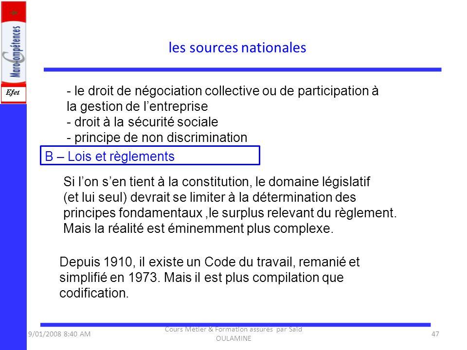 - le droit de négociation collective ou de participation à la gestion de lentreprise - droit à la sécurité sociale - principe de non discrimination B