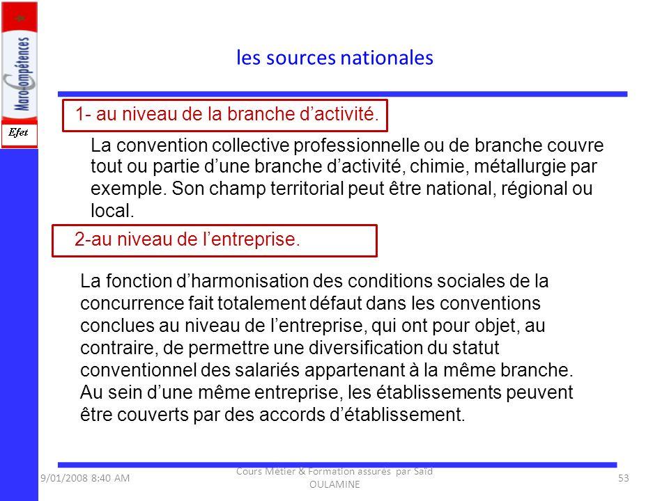 1- au niveau de la branche dactivité. La convention collective professionnelle ou de branche couvre tout ou partie dune branche dactivité, chimie, mét