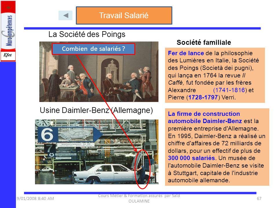 9/01/2008 8:40 AM Cours Métier & Formation assurés par Saïd OULAMINE 67 La Société des Poings Fer de lance de la philosophie des Lumières en Italie, l