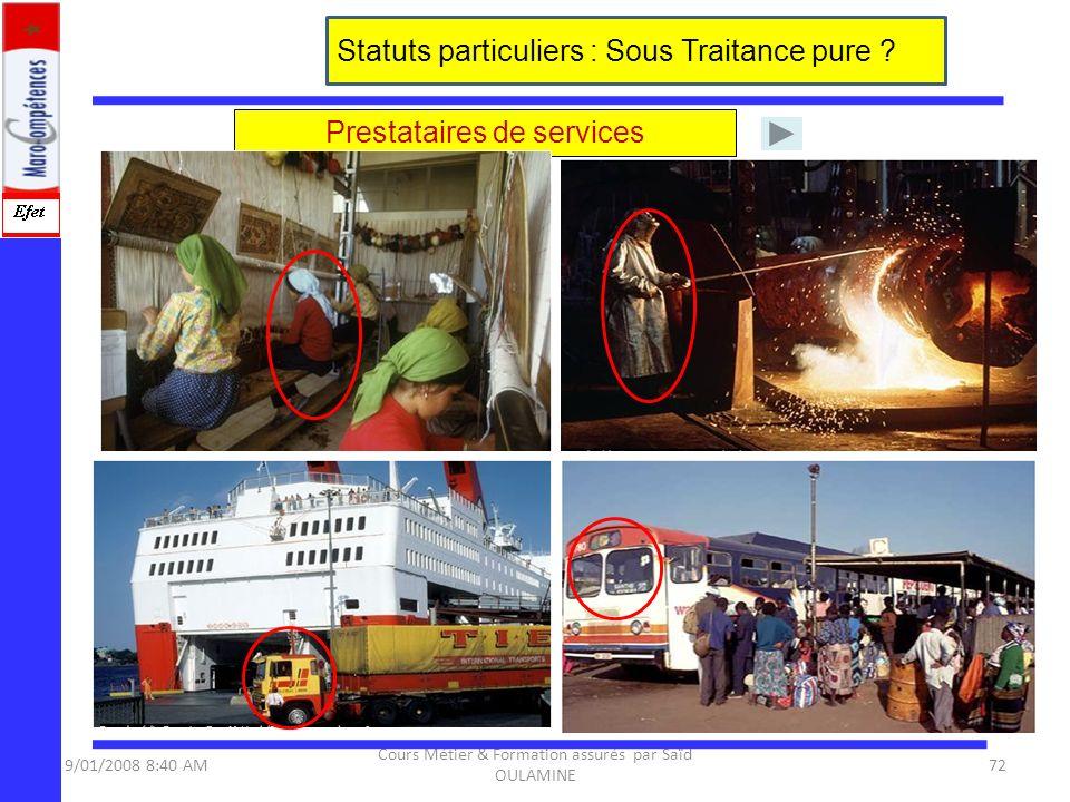 9/01/2008 8:40 AM Cours Métier & Formation assurés par Saïd OULAMINE 72 Statuts particuliers : Sous Traitance pure ? Prestataires de services