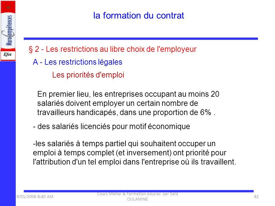 § 2 - Les restrictions au libre choix de l'employeur A - Les restrictions légales Les priorités d'emploi En premier lieu, les entreprises occupant au