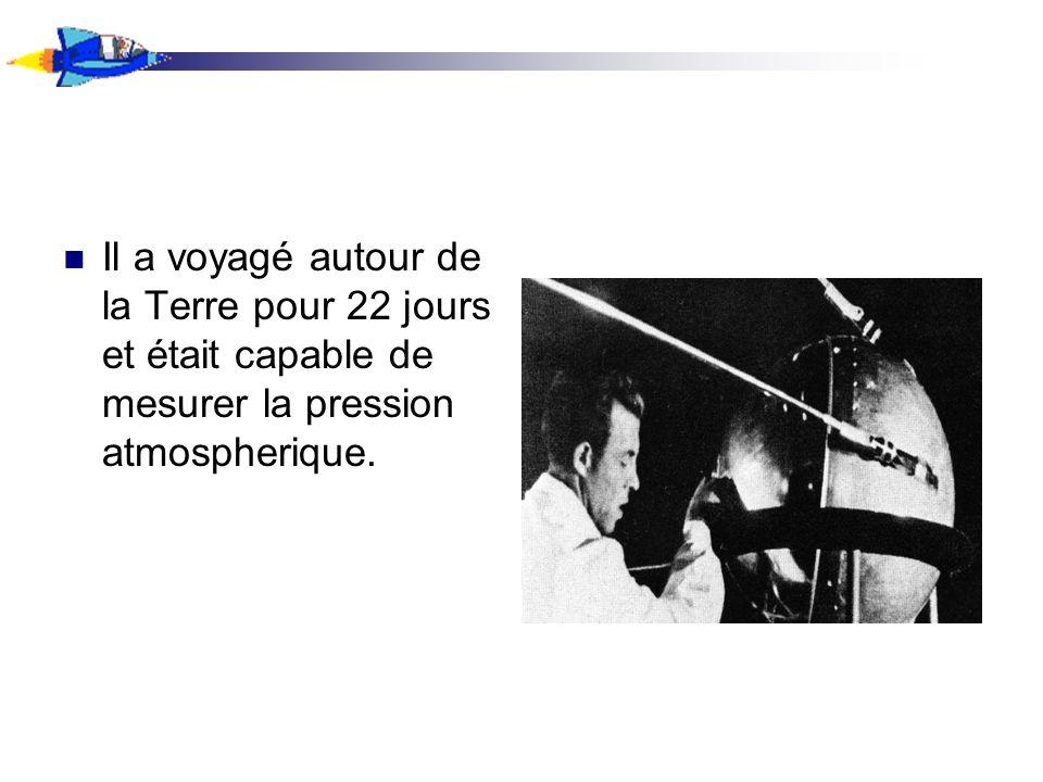 Il a voyagé autour de la Terre pour 22 jours et était capable de mesurer la pression atmospherique.