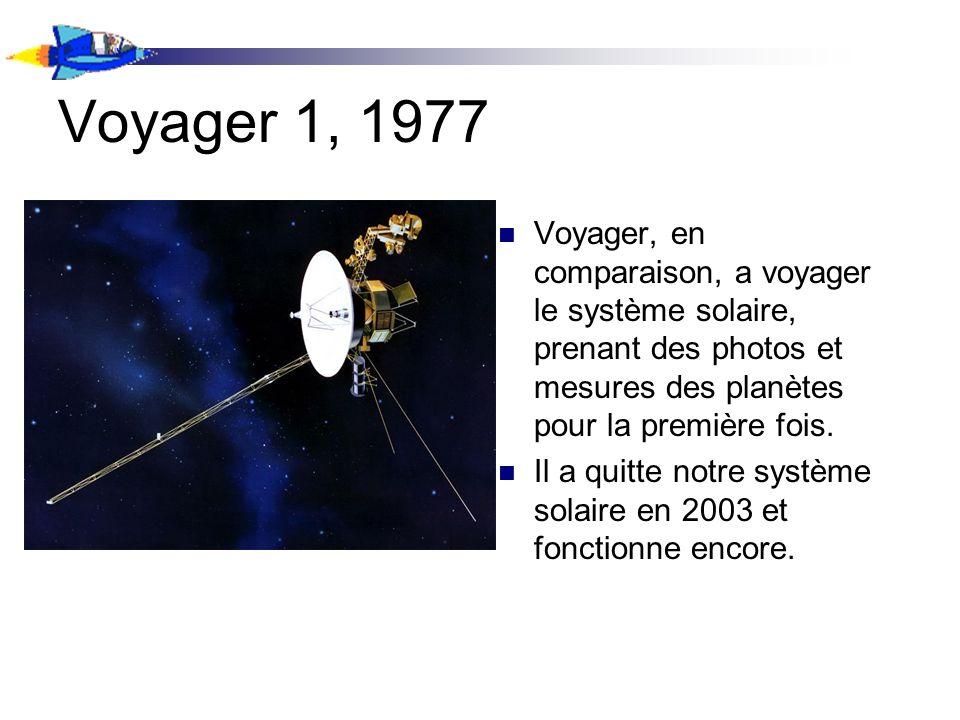 Voyager 1, 1977 Voyager, en comparaison, a voyager le système solaire, prenant des photos et mesures des planètes pour la première fois. Il a quitte n