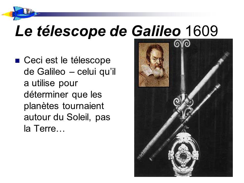Le télescope de Galileo 1609 Ceci est le télescope de Galileo – celui quil a utilise pour déterminer que les planètes tournaient autour du Soleil, pas