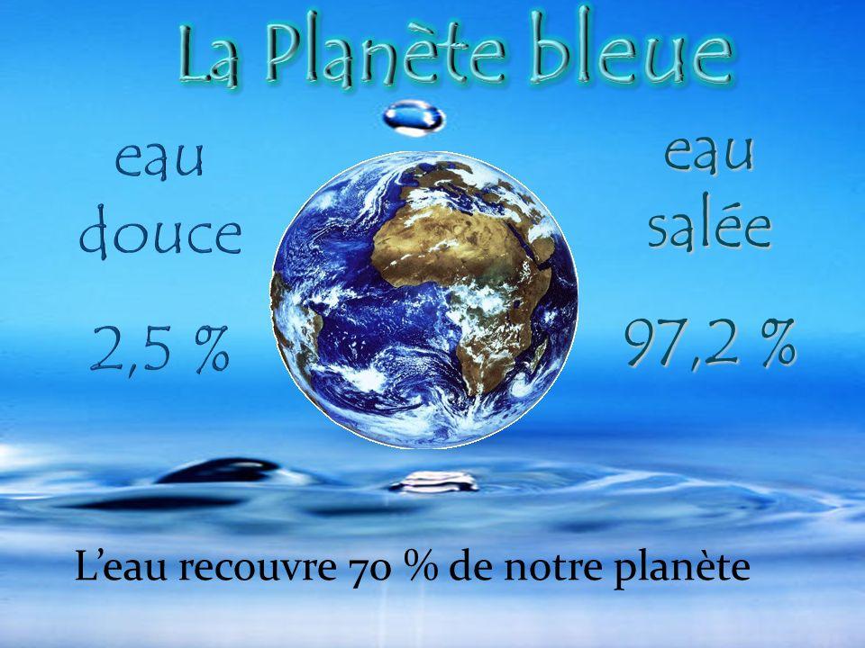 eau salée 97,2 % Leau recouvre 70 % de notre planète