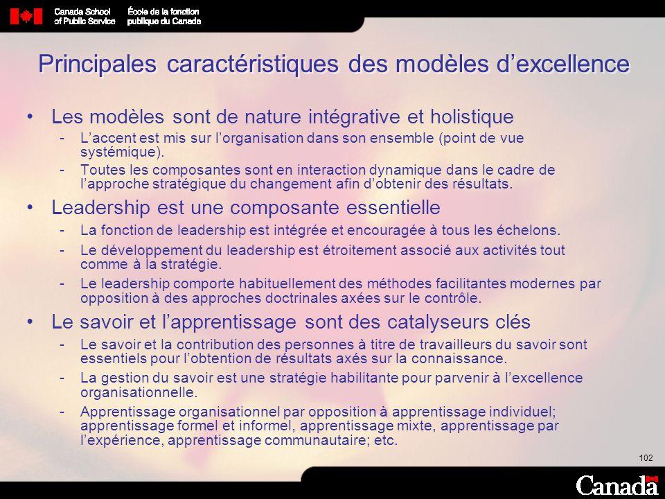 102 Principales caractéristiques des modèles dexcellence Les modèles sont de nature intégrative et holistique Laccent est mis sur lorganisation dans