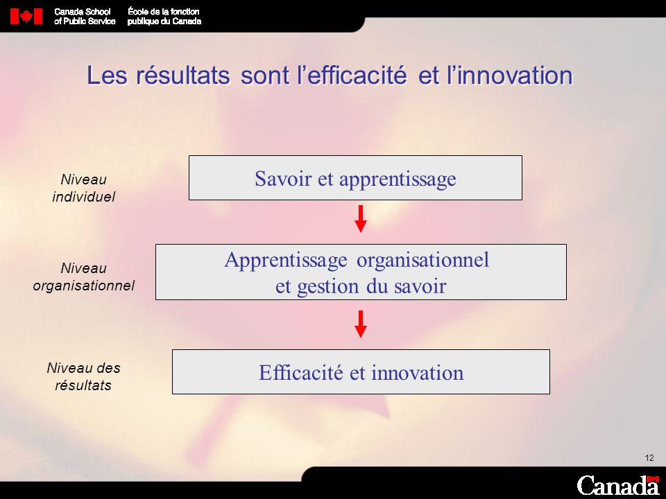 12 Les résultats sont lefficacité et linnovation Efficacité et innovation Savoir et apprentissage Apprentissage organisationnel et gestion du savoir N