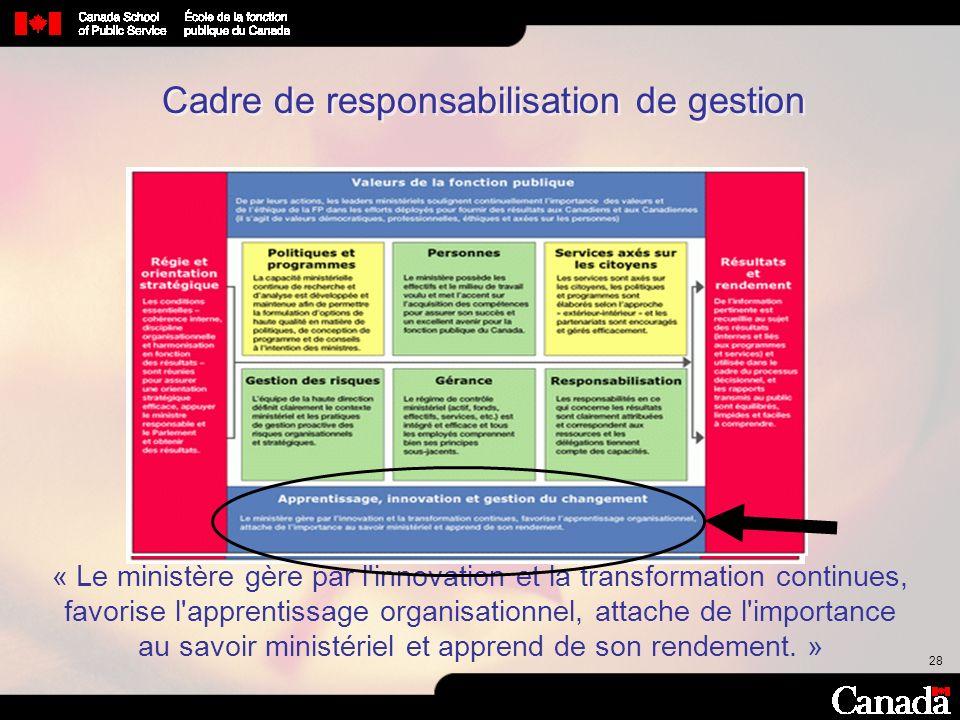 28 Cadre de responsabilisation de gestion « Le ministère gère par l'innovation et la transformation continues, favorise l'apprentissage organisationne