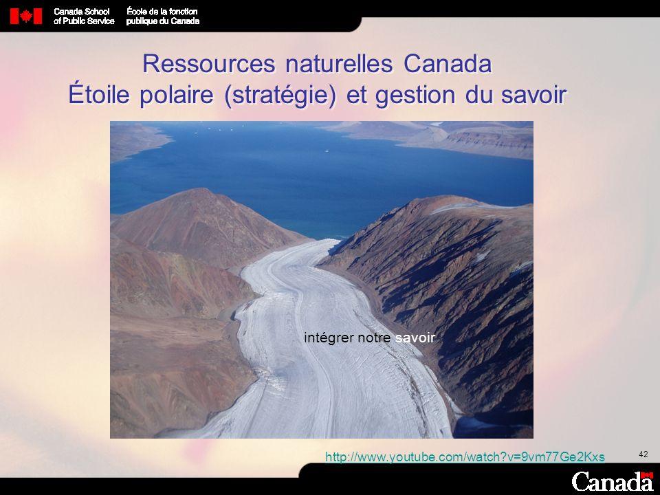 42 Ressources naturelles Canada Étoile polaire (stratégie) et gestion du savoir http://www.youtube.com/watch?v=9vm77Ge2Kxs intégrer notre savoir