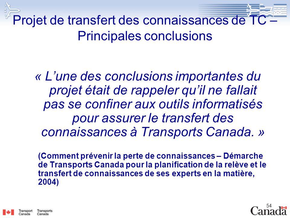 54 Projet de transfert des connaissances de TC – Principales conclusions « Lune des conclusions importantes du projet était de rappeler quil ne fallai