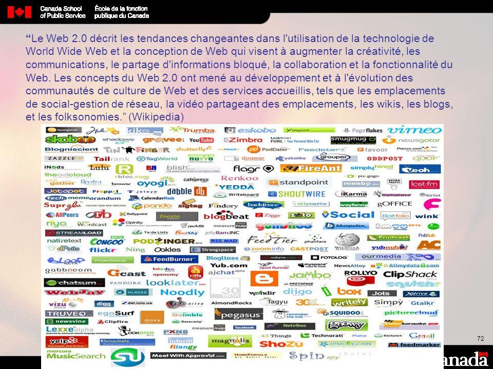 72 Le Web 2.0 décrit les tendances changeantes dans l'utilisation de la technologie de World Wide Web et la conception de Web qui visent à augmenter l