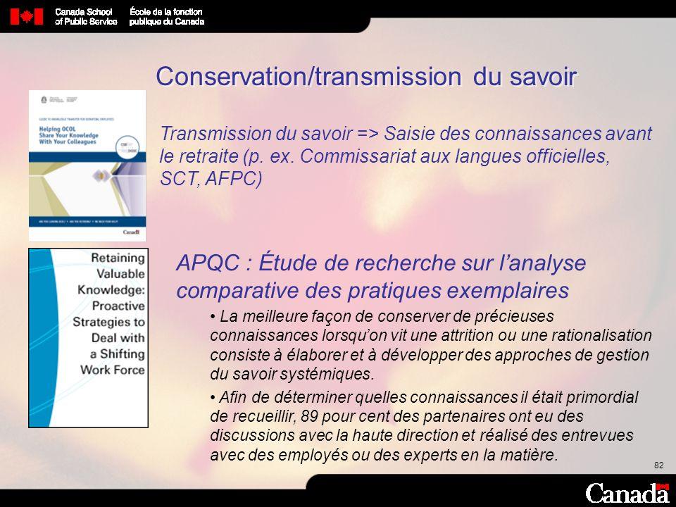82 Conservation/transmission du savoir Transmission du savoir => Saisie des connaissances avant le retraite (p. ex. Commissariat aux langues officiell