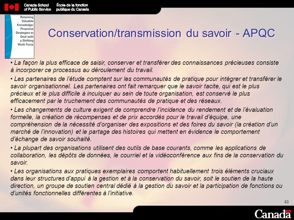 83 Conservation/transmission du savoir - APQC La façon la plus efficace de saisir, conserver et transférer des connaissances précieuses consiste à inc