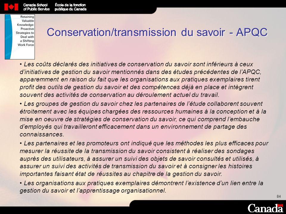 84 Conservation/transmission du savoir - APQC Les coûts déclarés des initiatives de conservation du savoir sont inférieurs à ceux dinitiatives de gest