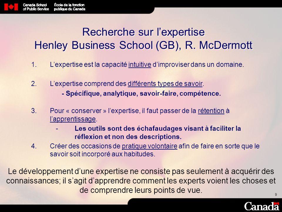 10 Recherche sur lexpertise Henley Business School (GB), R.