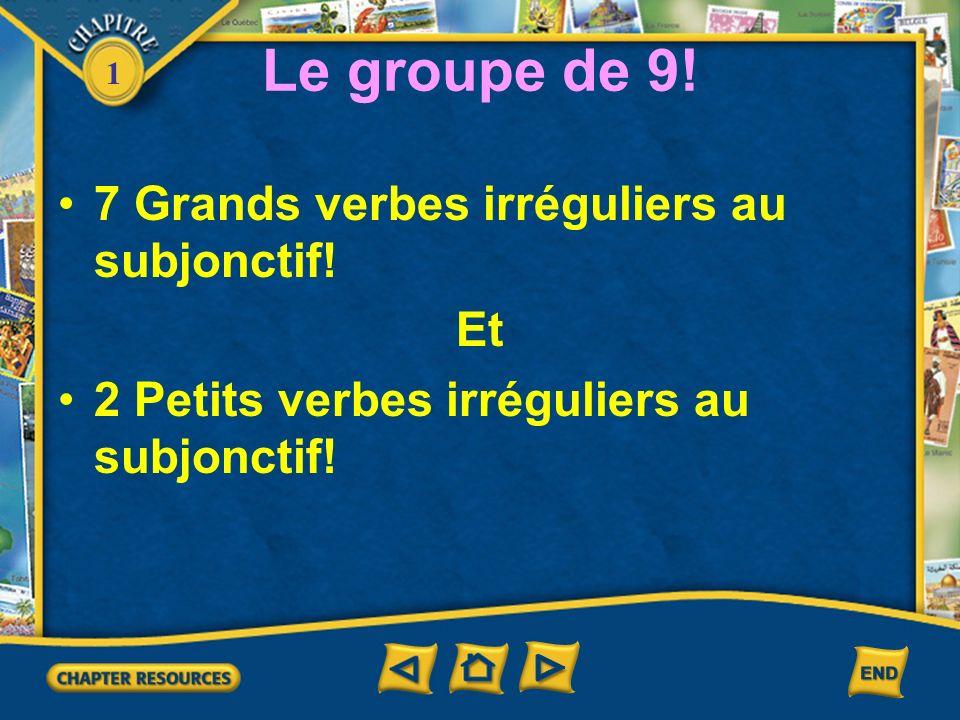 1 Le groupe de 9! 7 Grands verbes irréguliers au subjonctif! Et 2 Petits verbes irréguliers au subjonctif!